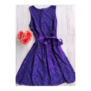 Rise ModCloth purple floral print lace dress